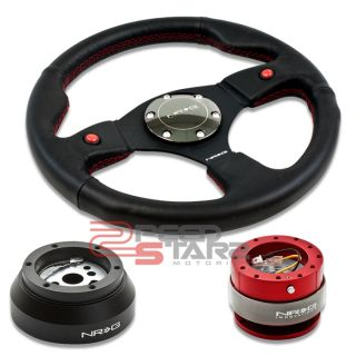 NRG 2 Button Steering Wheel Red Quick Release Short Hub Dodge GM GMC