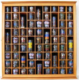 Large 71 Shot Glass Display Case Rack Holder Wall Cabinet Glass Door