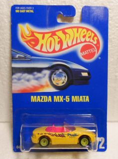 Hot Wheels Blue Card 172 Mazda MX 5 Miata Yellow w Green Hubsvariation