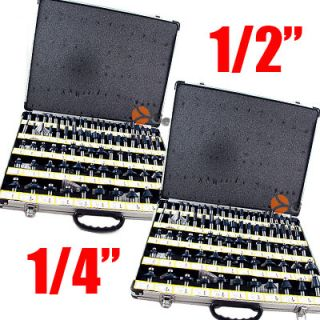 160pc 1 2 1 4 Shank Tungsten Carbide Router Bits Combo Aluminum Case