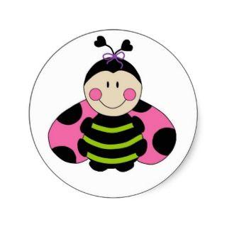 Cute Pink Ladybug Round Sticker