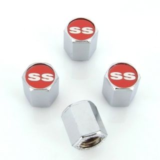 Chevrolet Red SS Logo Chrome Tire Stem Valve Caps New