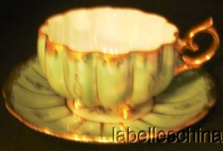 Royal Sealy 3 Toed Teacup Saucer Sage Opalescent Heavy