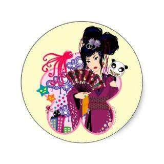 Ayaka in Harajuku Town Round Stickers