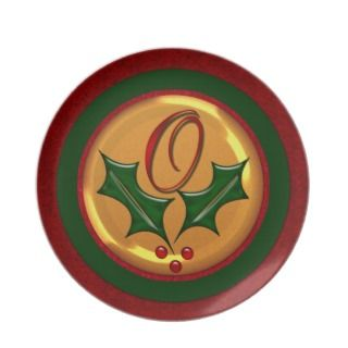 Monogram O Holly Christmas Plate