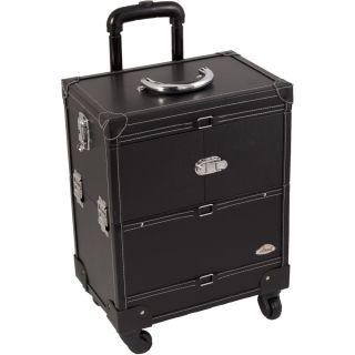 Salon Rolling Makeup Train Case Black Faux Leather w Mirror 4 Wheel 6