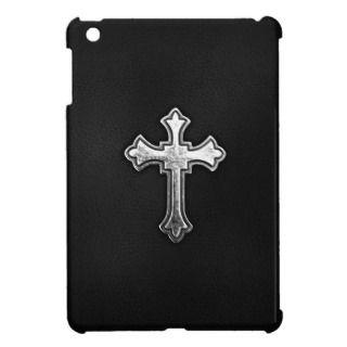 Metallic Crucifix on Black Leather iPad Mini Cases