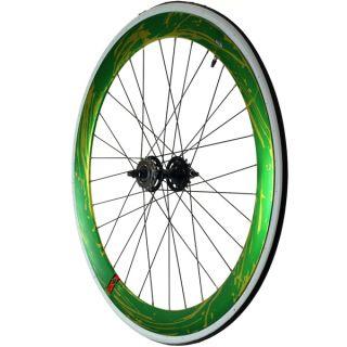 Fixie Single Speed Road Bike Track Wheel Wheelset Deep V Tyres Green
