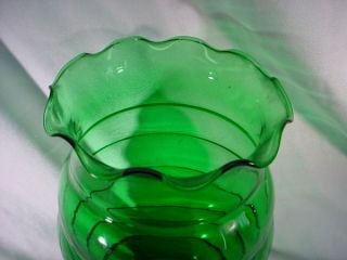 Vintage 1930s Depression Glass Forest Green Ringed Vase