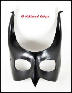 Black Devil Bird Beak Leather Mask Horns Masquerade Bat