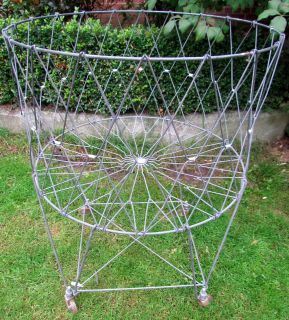1960 ALLIED Round Wire Collapsible Folding Laundry Basket Rolls Wheels