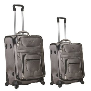 Rockland Luggage 2 Piece Spinner Luggage Set Medium Silver