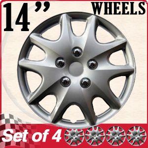 Hub Cap ABS Silver 14 inch Rim Wheel Skin Hubcaps Cover Center 4pc