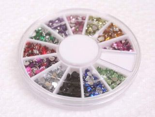Nail Art Mixed Color Shape Rhinestone Glitter Slice Decoration Wheel