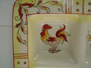 Maxcera Red Yellow Rooster 4 Divider Platter Plate