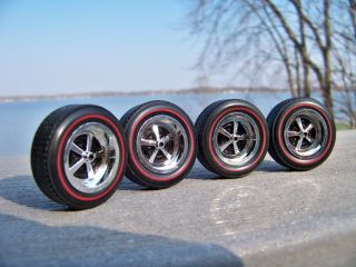 18 Set of 4 Ertl Red line Chevrolet Super Sport 5 Spoke Wheels & Tires