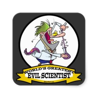 WORLDS GREATEST EVIL SCIENTIST MEN CARTOON SQUARE STICKERS