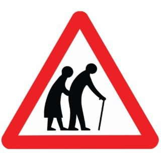 CAUTION Elderly PeopleUK Traffic Sign Photo Sculpture