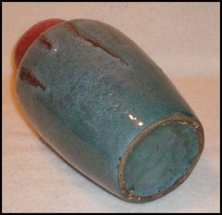 Studio Handcrafted Ceramic Vase Blue Green Maroon Tones 8 5 inches
