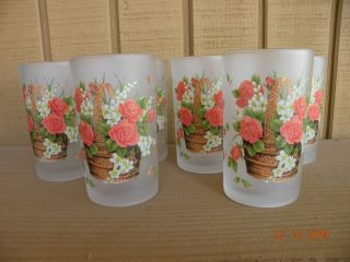 Briliant Floral Drinking Glasses 6PCs L K