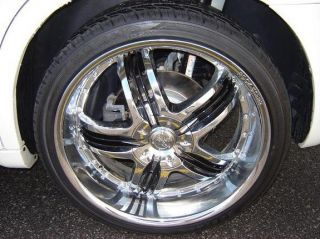 24 inch Rims and Tires Wheels Rockstarr 410 Chrome Jeep Commander F150