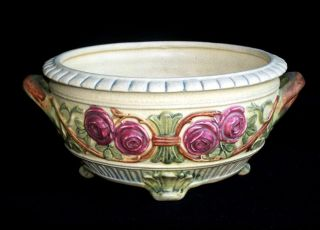 Antique Weller Art Pottery Floral Three Footed Floral Bowl Flower Pot