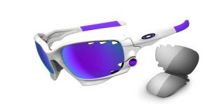 Polished White Violet IRID Vented Light Grey Sunglasses 24 273