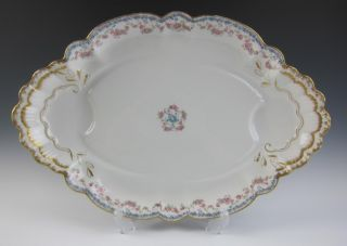Large Antique Haviland Limoges Porcelain Platter Roses Double Gold