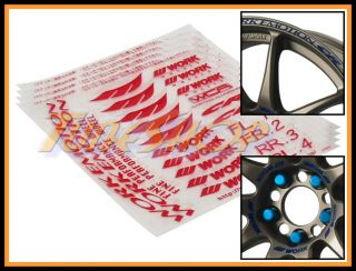 Pcs Work Emotion CR Kai Racing Wheels Decal Sheet Sticker Nuts Red
