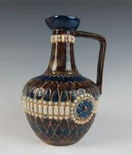 Antique ROYAL DOULTON EWER Cobalt MOORISH ARTS & CRAFTS Stoneware ART