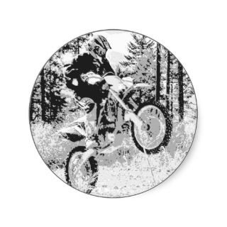 Dirt bike wheeling in the woods sticker
