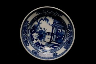 Large Antique Chinese Qing Blue and White Porcelain Plate Figure