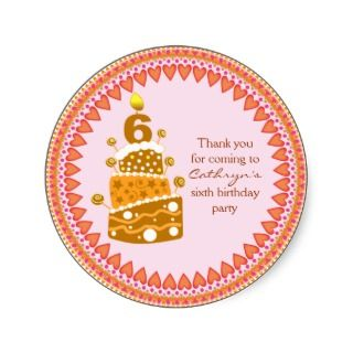 kids Birthday Thank You Stickers Birthday Cake