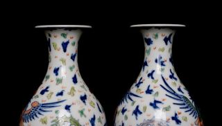 Pair Antique Chinese Porcelain 18th C Dou Cai Vase Dragon Signed 97QB
