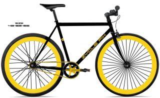 Bike Fixie Bike Road Bicycle 48cm w Gold Deep 45mm Rims Black