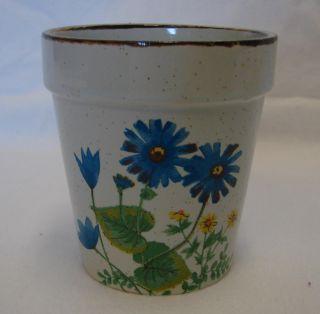 Vintage Small Blue Yellow Daisy Flower Plant Pot Japan