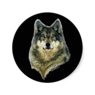 WILD GREY WOLF HEAD Stickers