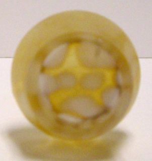 Art Glass Gold w White Drip Swirl Vase Scalloped Rim 7 7 8