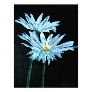 oil painting of white daisy flowers modern art letterhead