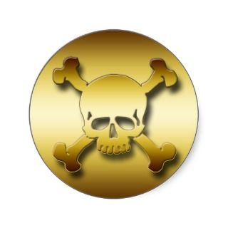 GOLD SKULL & CROSSBONES STICKER