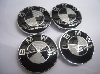 4X Carbon Fiber Style Bmw Chrome M Tech, Sport Wheel Center Caps 68mm