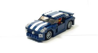 Lego Custom Dark Blue Muscle Car w/ White City Town 10211 10185 3366