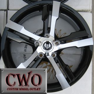 19 Black Stern St 4 Warp Wheels Rims 5x114 3 5 Lug Mazda 3 6 TSX Civic