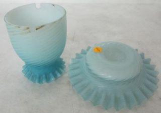 Amazing C 1910 Blue Satin Glass Fairy Lamp