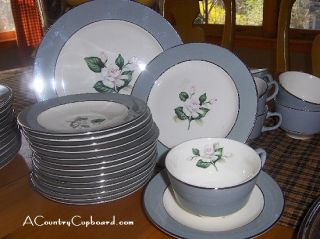 Vintage Homer Laughlin 9 Plate White Rose Gray Rim 342