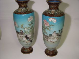 Pair Meiji Period Japanese Cloisonne Vases Late 19th Century c1880