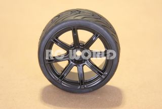 RC 1 10 Car Tires Wheels Rims Package Tamiya HPI Black 8 Star Semi
