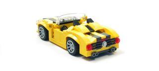Lego Custom Yellow Sports Car w Black City Town 4207 4435 3648 6913