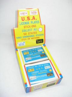 72 Vintage USA Mini License Plate Stickers in Store Display Box