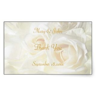 White Roses Thank You Wedding Sticker